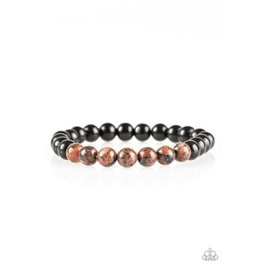 Bliss Brown and Black Lava Bead Stretch Bracelet